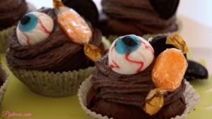 Cupcakes de chocolate para Halloween
