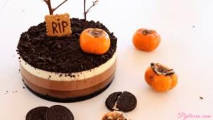 Tarta de 3 chocolates para Halloween