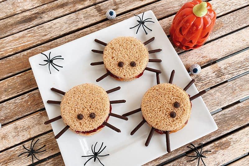 Sándwich de araña para Halloween